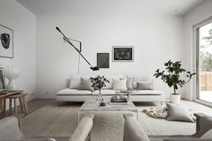 speaking of beautiful scandinavian design, this home designed by design therapy is truly perfect. design therapy is an interior design agency based in stockholm. design therapy believes that interior design is \ Living Room White, White Rooms, Living Room Interior, Home Living Room, Living Room Designs, Living Room Decor, Söderhamn Sofa, Ikea Sofas, Interior Minimalista