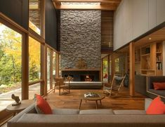 Modern, remote, and completely immersed in nature, The Bear Stand Retreat is everything you want in a rural getaway. The house is located on a. Living Room Designs, Living Room Decor, Mid Century Modern Living Room, Modern Fireplace, Interior Architecture, Interior Design, My Dream Home, Mid-century Modern, Outdoor Decor
