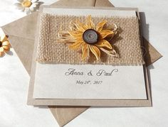 Handmade quilling sunflower wedding invitation/Burlap