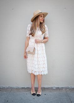 White Crochet Midi Dress | The Teacher Diva