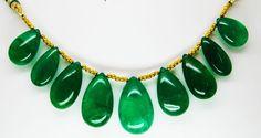 174.55 Ct Fine Natural Emerald Zambia Drops Necklace UnTreated Loose Gemstone #RareGemIN