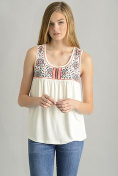 Skies are Blue Embroidered Yoke Tank Top | South Moon Under