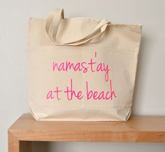 Namast'ay at the beach tote bag - beach tote in canvas with shocking pink lettering - beach carry all - yoga tote - eco tote - beach bag by RevellHouse on Etsy