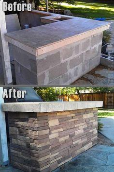 fake Nailon Stone Wall - BBQ remodel