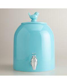 Serving beverages for a crowd? Use this drink dispenser! Get it here: www.bhg.com/shop/world-market-aqua-bird-ceramic-drink-dispenser-p5110a96be4b096b6c58fb9ae.html?mz=a