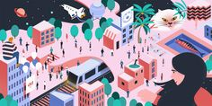 #isometric #ddoing #universe #city #illustration #illust #일러스트 #우주 #도시 #아이소메트릭 City Illustration, Editorial, Graphic Design, Flat, Artwork, Bass, Work Of Art, Auguste Rodin Artwork, Artworks