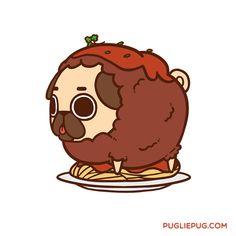 Pug in 🍝 Cute Animal Drawings, Kawaii Drawings, Cute Drawings, Pug Kawaii, Pug Cartoon, Pug Art, Dog Anxiety, Pug Pictures, Pug Love