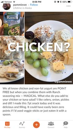 Healthy Snack Foods For Weight Loss Weight Watchers Meal Plans, Weight Watchers Snacks, Healthy Snacks, Healthy Eating, Healthy Recipes, Clean Eating, Ww Recipes, Healthy Options, Diet And Nutrition