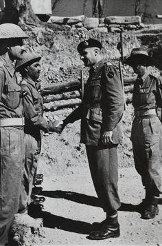 Major General Frank Messervy congratulating Jemadar Ramji Lal MC, 1946