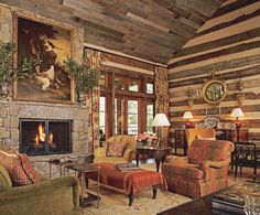 nice log living room ~ love the barn wood ceiling ~ nice rustic touch ~ Ragland Hill Social: Of the Earth. Place.
