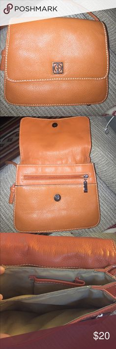 Giana Bernini // Burnt Orange LEATHER // Shoulder Bought at Macy's. Genuine leather. Brand new // never used. Burnt orange leather with silver detail. White stitch loose in one area. Organizational bag with lots of a slots. Giani Bernini Bags Crossbody Bags