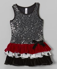 Look at this Black & Sliver Sequin Drop-Waist Dress - Infant, Toddler & Girls on #zulily today!
