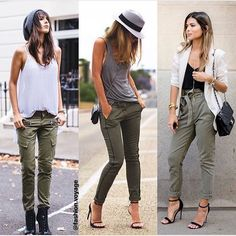 Great casual spring outfits for women Army Pants Outfit, Olive Pants Outfit, Summer Pants Outfits, Casual Fall Outfits, Summer Outfits Women 30s, Spring Outfits, Casual Pants, Zara Outfit, Pantalon Cargo