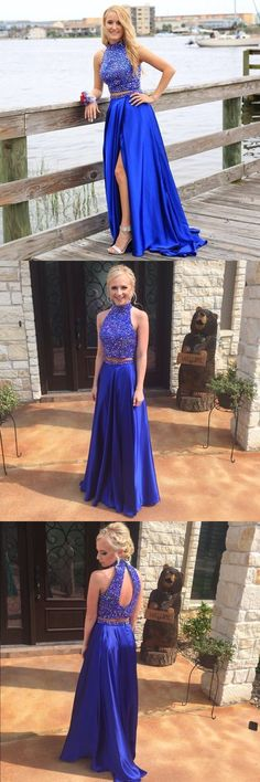 Charming A-Line Halter Split Front Royal Blue Two Piece Prom Dress with Beading