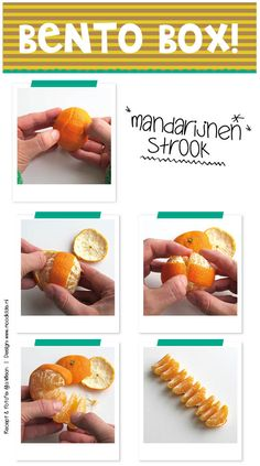 bento zonder rijst, eenvoudige bento tips voor een leuke lunch, zo maak je een mandarijnen strook
