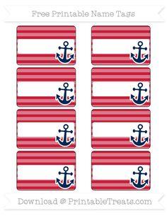 Free Cardinal Red Horizontal Striped Nautical Name Tags