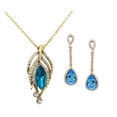 Sale On Beora Gold Plated Blue Crystal Pendant Necklace Set at Trendymela. Buy this at just Rs.699. Buy now & save 50% @ Trendyemeka.com