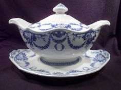 Rare Wedgwood Ironstone Soup Tureen and Underplate, Blue Swag, Grosvenor
