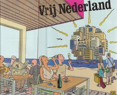 Cover for magazine Vrij Nederland with a toast to economic growth by Joost Swarte