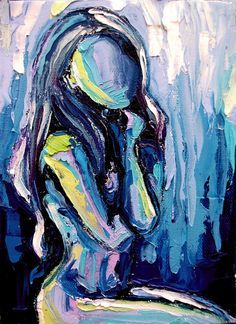 Nude oil painting abstract figure impasto by SagittariusGallery, $52.00