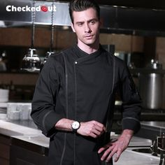 2017 food service black long sleeve chef jacket for women washable and durable chef uniform for man head chef Uniform Design, Cafe Style, Europe Fashion, Five Star Hotel, Review Fashion, Work Wear, Chef Jackets, Jackets For Women, Bomber Jacket
