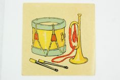 Antique drum and trumpet water slide decal, French child color transfer 1920 or 30s