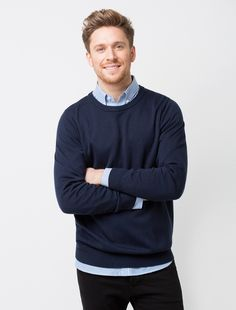 The Men's Crew Knit in navy is a fashionable and versatile layer item that can be worn all year round Uniform Shop, Business Shirts, Work Shirts, Check Shirt, Blue Stripes, Work Wear, Men Sweater, Blue And White, Navy