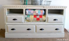 {Before  After} – dresser turned TV console | Sweet Pickins Furniture. Use MDF to frame out openings from removed drawers. Add a baseboard trim to make the dresser seem more substantial