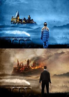 This gives my chills. Younger Harry gazing at Hogwarts in his first year vs. older Harry during the final battle at Hogwarts. Estilo Harry Potter, Arte Do Harry Potter, Yer A Wizard Harry, Harry Potter Love, Harry Potter Universal, Harry Potter Scar, Harry Potter World, Harry Potter Fandom, Harry Potter Memes
