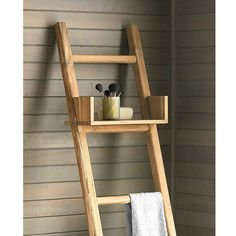 Teak Ladder- use in the bathroom as a towel rack, in the bedroom as a blanket ladder, or even in the garden to grow vining plants.