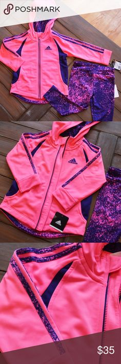 NWT Adidas Hooded Jacket and Leggings Set Your little one will look sporty and sweet in this pink and purple hooded tricot jacket and abstract printed leggings set by Adidas! The jacket has an attached hood and full front zipper closure. The 18M set has never been worn and has the tags attached. Adidas Matching Sets