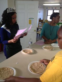 Miss Black Indiana USA 2013 participates in a heart healthy recipe challenge. Pictured is step one of making the pizza!