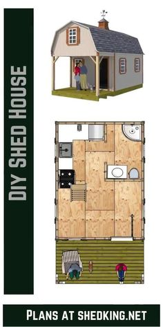 This diy shed home plan could be the solution to creating more livable space on your property.  Use it to build a granny flat, guest house, cabin with loft, backyard cottage, shed house, or tiny house.  These shed house plans come complete with building manual, detailed shed plans, materials list, and email support.  Learn more today about these easy to use plans.