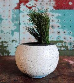 Mid Century Modern Art / studio pottery planter. Semi-matte white with poked dots textures all over in dark gray  Small part on side of base