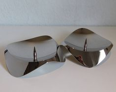 Stelton Papilio Uno candle holders - pair -  Mirror polished stainless steel by SilverfernDK on Etsy