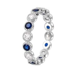 Women's Sterling Silver Rhodium Plated Round Eternity Stackable Blue CZ Ring  #EternityBand