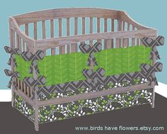 Simply Leafy baby bedding includes bumper set  by birdshaveflowers, $238.00