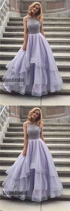 High Neck Lavender With Beaded A-Line Asymmetrical Organza Floor Length Prom Dress, Prom Dresses, VB0383 #promdress