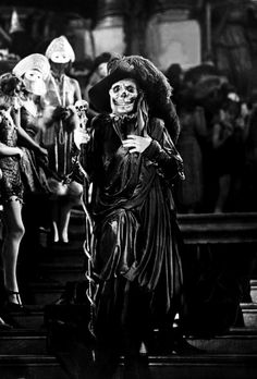 Lon Chaney as the Phantom in The Phantom of the Opera (1925), directed by Rupert Julian. Filmed in the haunted Studio 28 in Universal Studios, California