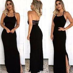 Vestido Longo Preto Tiras