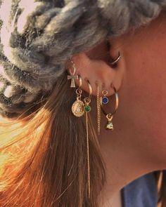 Emerald Earrings, Gold Hoop Earrings, Unique Earrings, Crystal Earrings, Women's Earrings, Gold Hoops, Heart Earrings, Ear Jewelry, Cute Jewelry