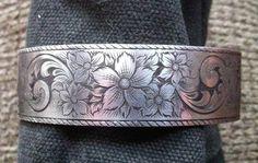 Cuff Bracelet Sterling Silver Hand Engraved