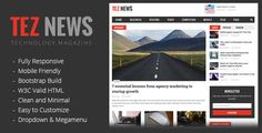 TezNews Magazine/News HTML5 Template . TezNews is magazine/news HTML template, TezNews a fully responsive, simple, clean and very easy to customize, it make your website professional and