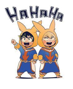 Izuku Midoriya and Katsuki Bakugo from Boku no Hero Academia My Hero Academia Memes, Buko No Hero Academia, Hero Academia Characters, My Hero Academia Manga, Chibi, Series Manga, Deku Anime, Bakugou Manga, Comic Anime