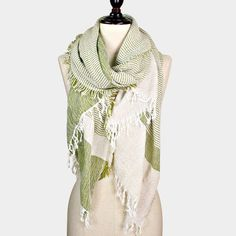 {Two-Tone Fringe Soft Woven Scarf}