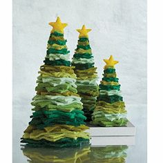Felt Christmas Trees - to DIY: would need thick felt, probably a dowel and round base to hold them?