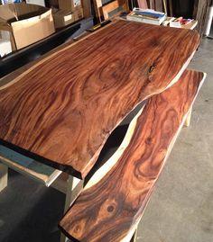 Reclaimed Natural Edge Monkeypod Wood Slab Table & Custom Reclaimed Steel Base modern dining tables