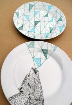 Howling Wolf Geometric Design Plates hand illustrated porcelain. €50.00, via Etsy.