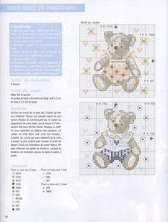 0 point de croix grille et couleurs de fils bébé, petit ours garcon et fille