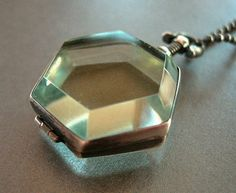 sterling silver locket hexagon shape with by archaicdesign on Etsy, $75.00